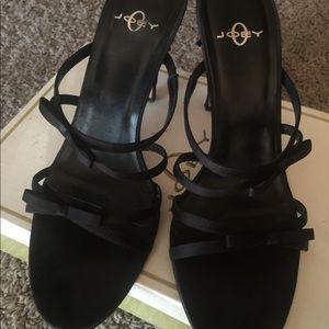 Black Satin Party Heels